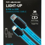 Itek Light-Up 8-Pin 3' Cable (assorted colours may include blue, purple or rainbow)