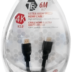 6M/19.7′ TES ULTRA HIGH SPEED 4K HDMI V2.0 CABLE with ETHERNET