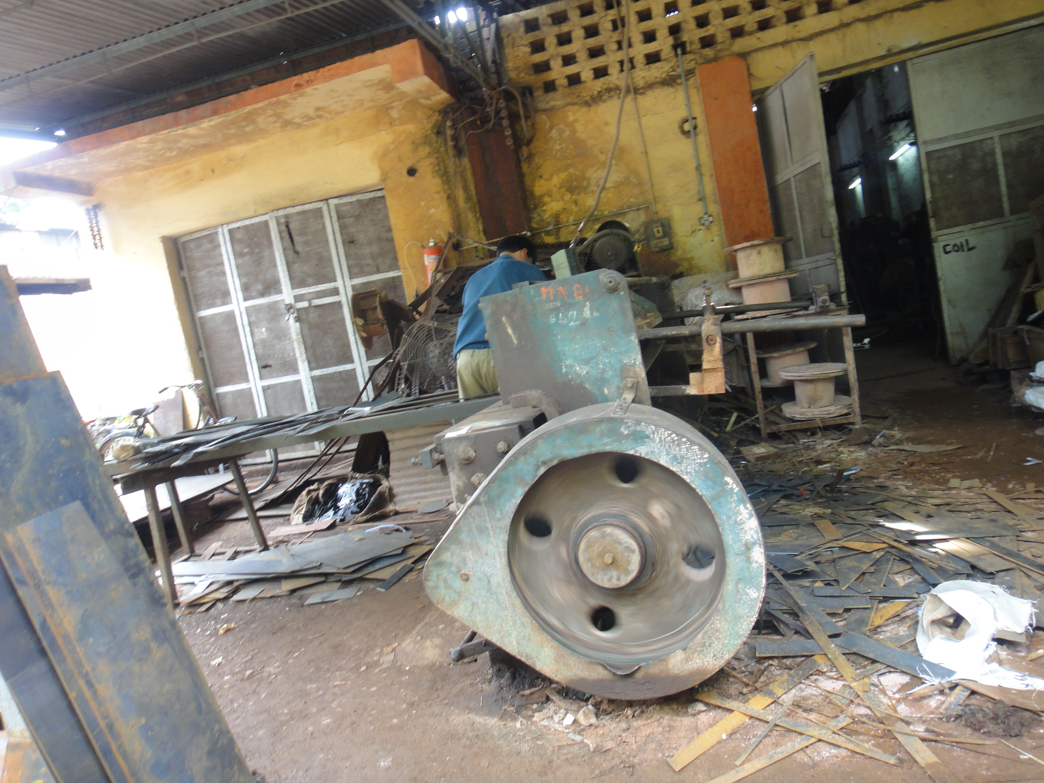 A steel shearing machine. Be careful, you don't want to be in it!