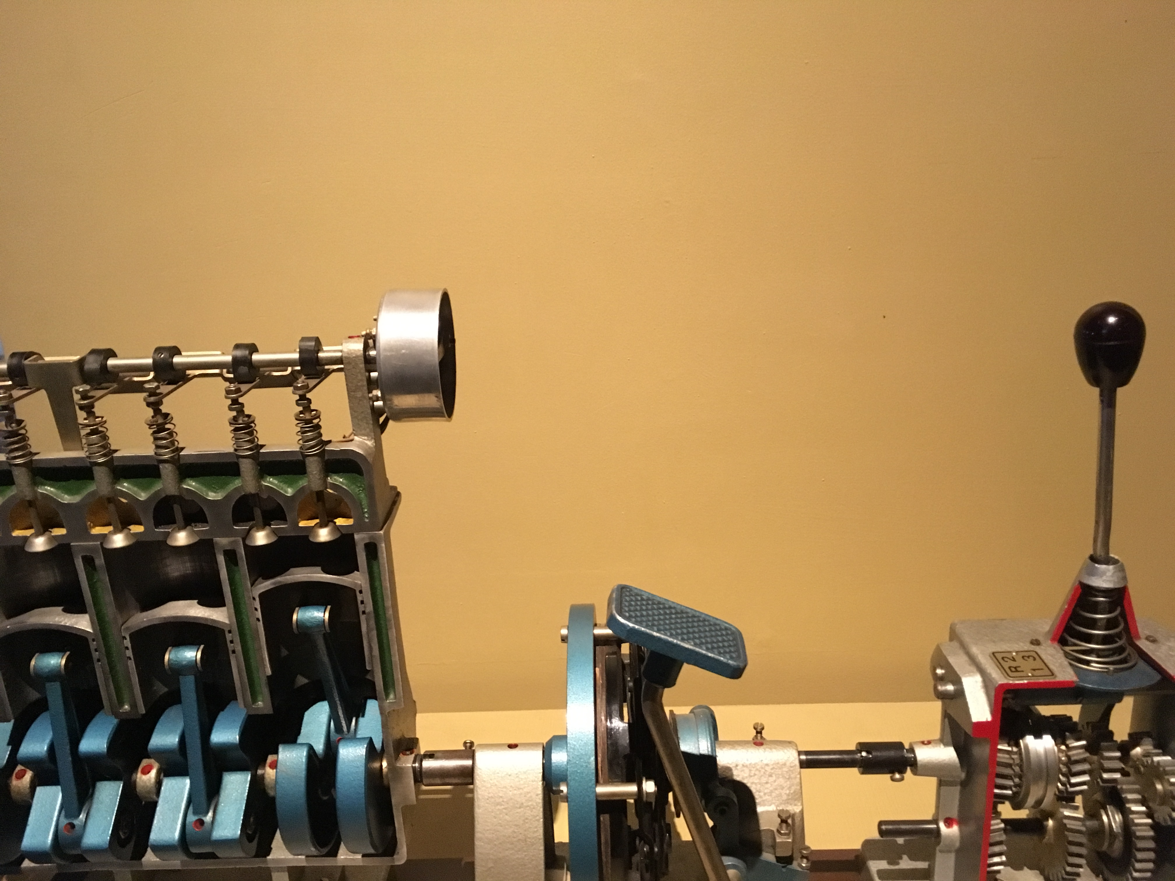 A working model of a car's  gearshift assembly