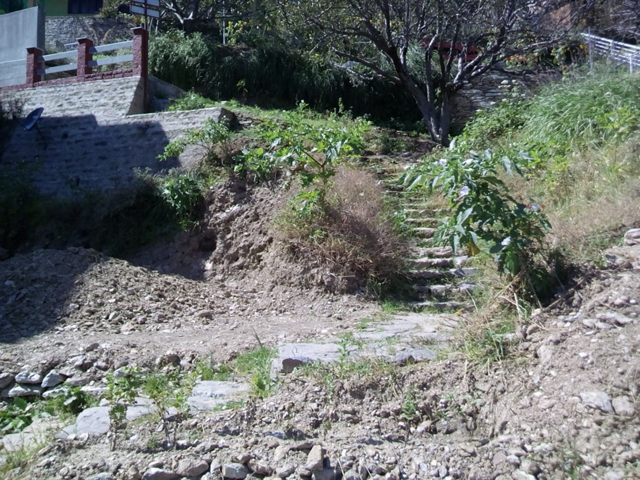 A rocky path consisting of mud, sand and stones