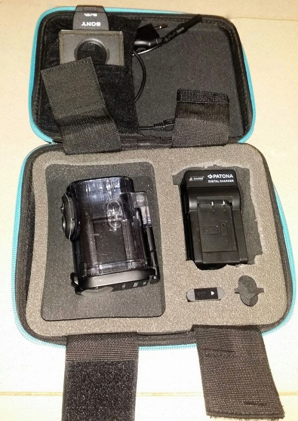 Action cam in its case