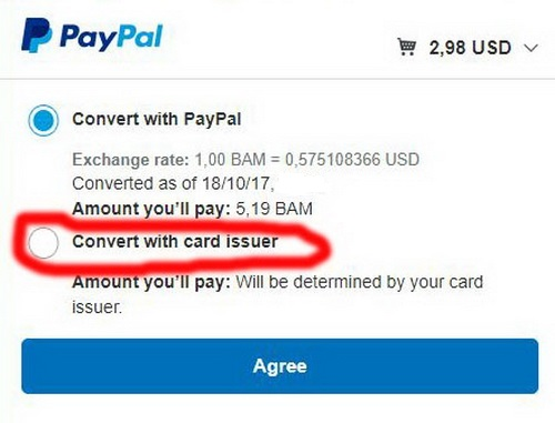 Paypal currency conversion