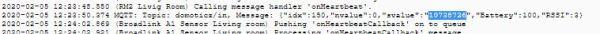Domoticsz log file capturing command from C50W sensor
