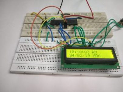 Image shows interfacing of PIC microcontroller with PCF8563 using I2C.