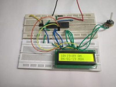 Following image show date and time on character LCD using RTC.