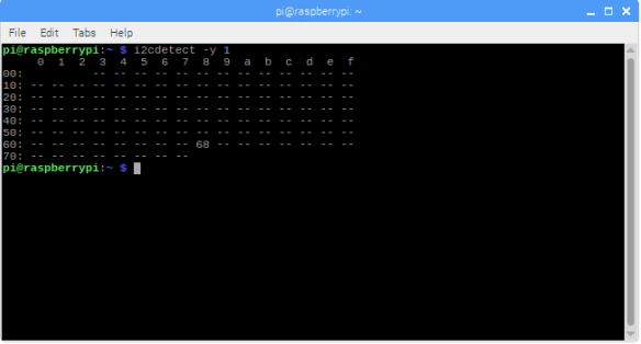 i2cdetect for checking address on the bus