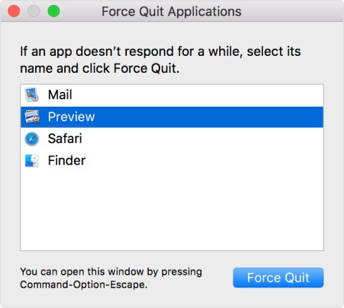 force quit using keyboard