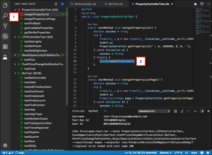Techforce Services - Winter'19 Release - rn_vscode_apex_tests