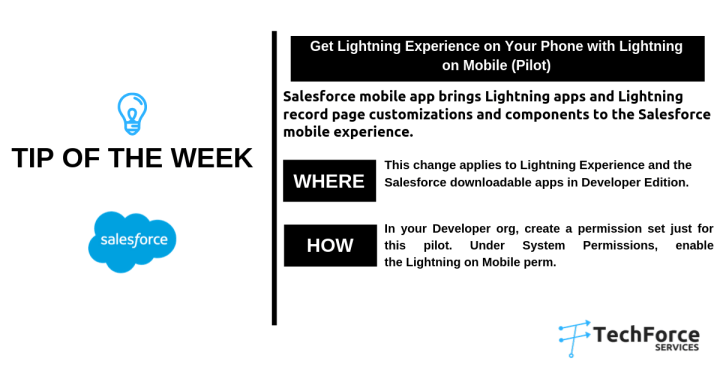 Salesforce weekly  tips with lightning on mobile