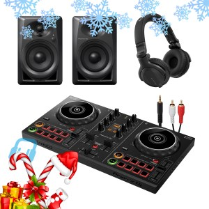 Pioneer DDJ-200 Smart DJ Controller with DM-40 Monitors and HDJ-CUE1 Headphones