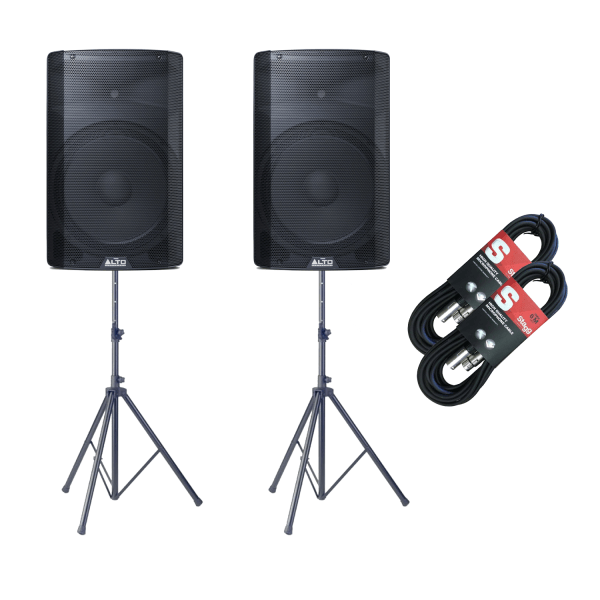 Alto TX215 600 Watt Active Speakers With Stands, Pair