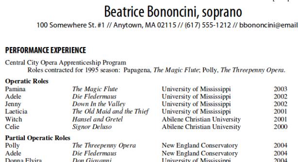 Résumé Writing For Singers Online Resources Technology