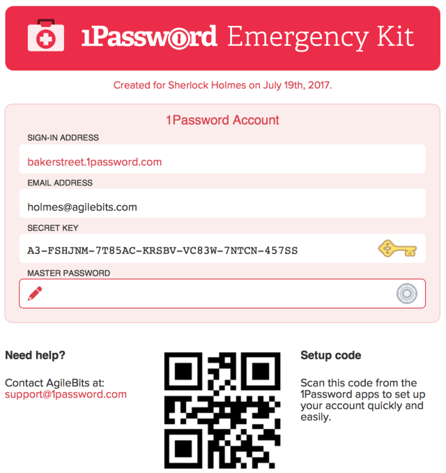 Image of a 1Password Emergency Kit. It has fields for sign-in address, email address, secret key and master password.