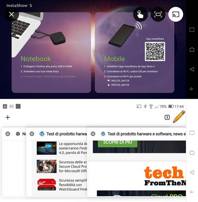 La schermata di connessione e un esempio di connessione instaurata.