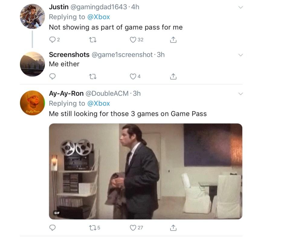 Xbox Twitter messages Gamepass