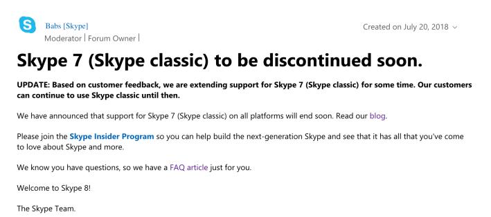 Skype Classic Shutdown