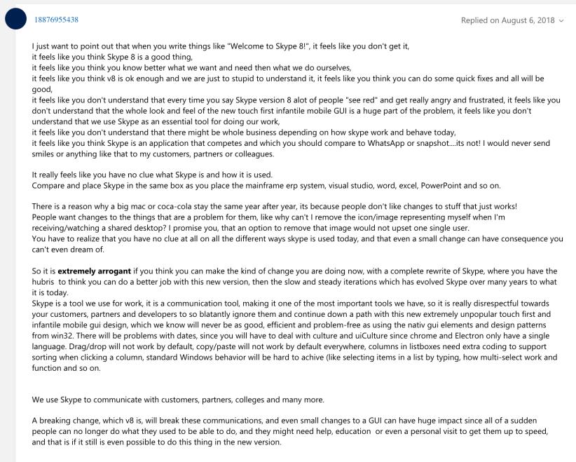 Skype user comment 1