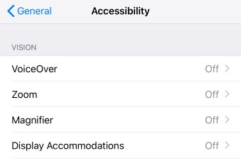 iOS accessibility screen