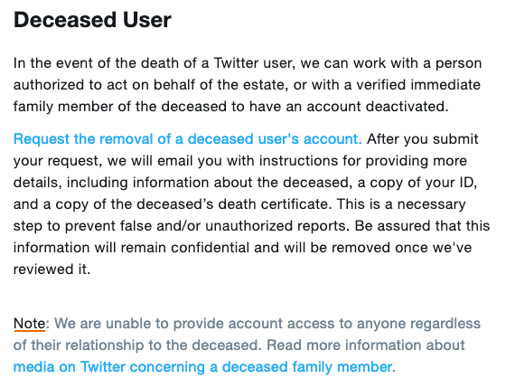Twitter deceased user