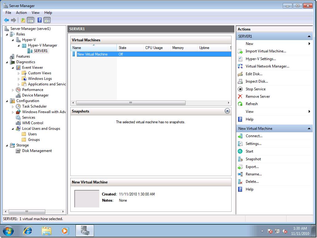 Hyper-V Server Manager