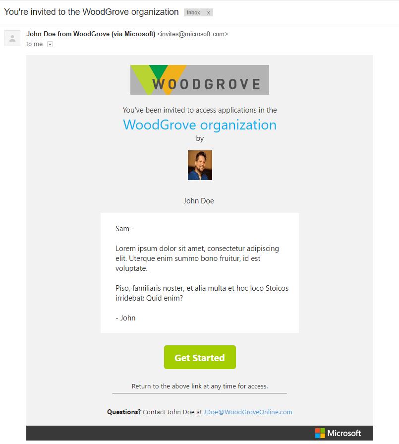 Azure AD B2B invitation email