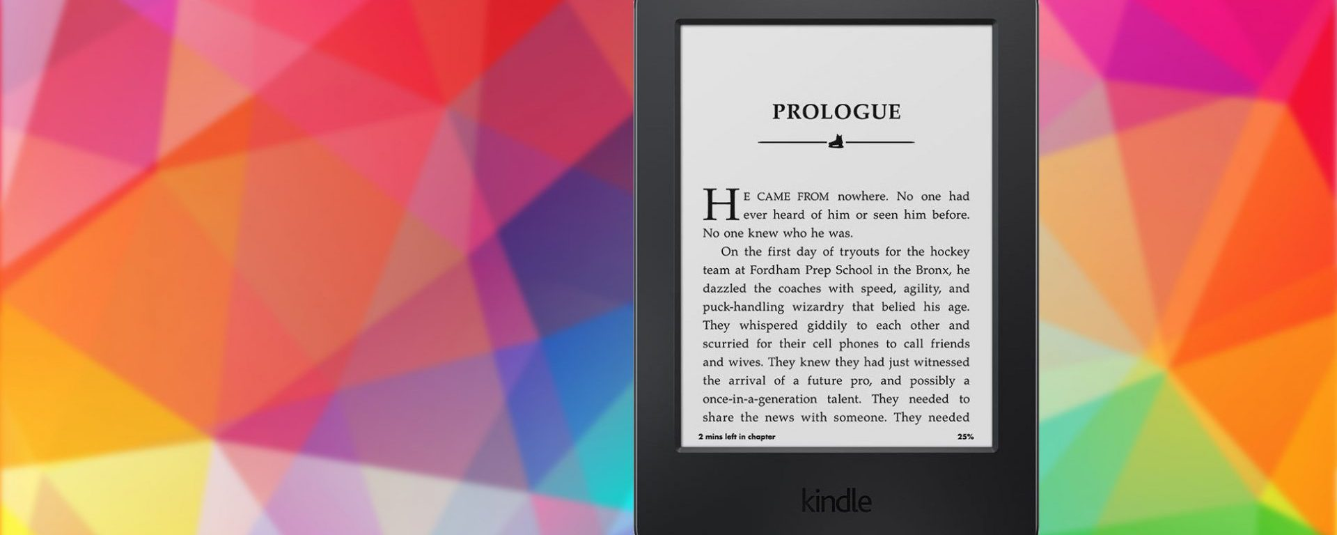 Colorful banner with Amazon Kindle photo