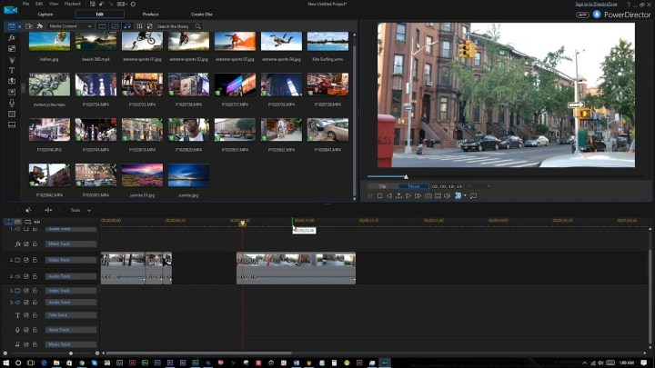 The interface of PowerDirector video editor