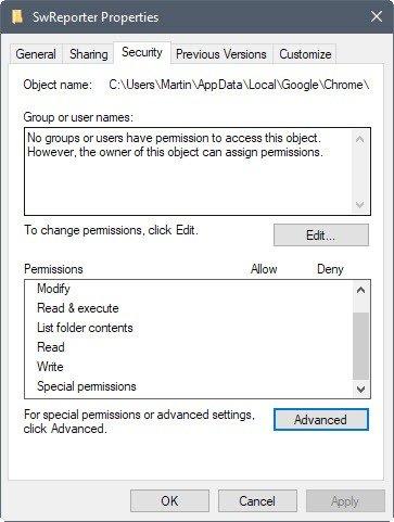 software reporter tool disabling menu in Windows explorer