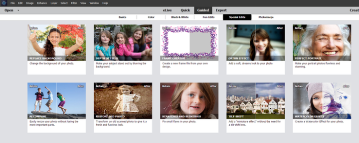 the interface of adobe photoshop elements guided editgs