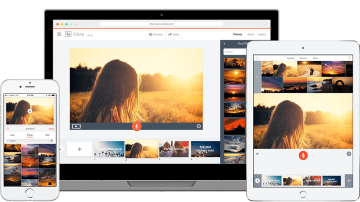 adobe spark launched on a laptop, iphone, ipad