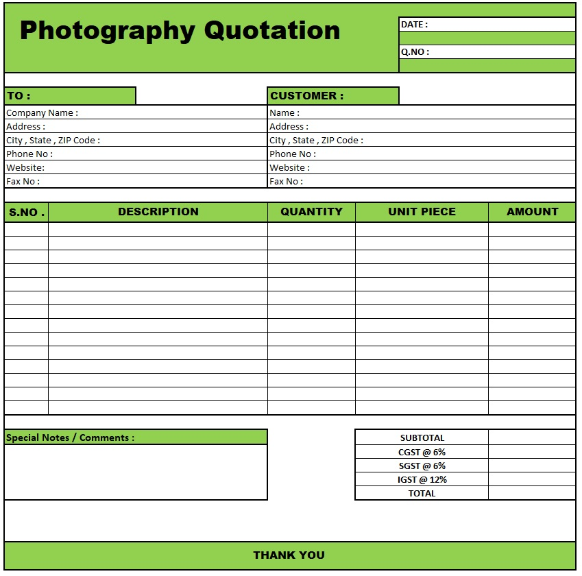 Computer Quotation Format In Excel Free Download , Download Quotation Format in Excel