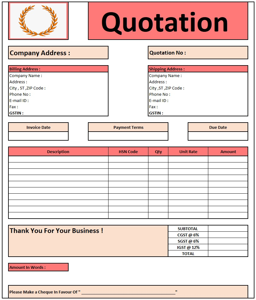 Construction Quotation Format In Excel , Download Quotation Format in Excel