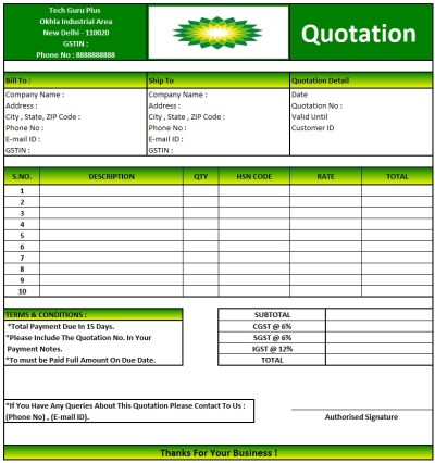 Housekeeping Quotation Letter Format , Download Quotation Format in Excel