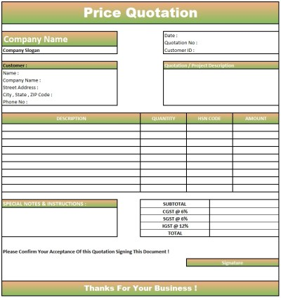 Quotation Format For Website Development , Download Quotation Format in Excel