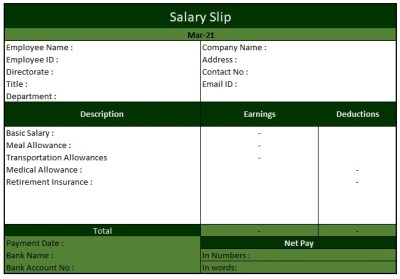 Salary Slip Format For Private Company , Salary Slip Format In Excel Download Free