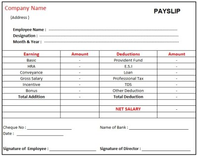 Simple Salary Slip Format For Small Organisation In Excel , Pay Slip Format Excel