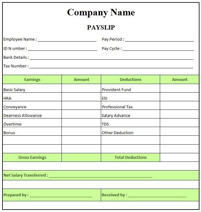 Simple Salary Slip Format For Small Organisation , Pay Slip Format Excel