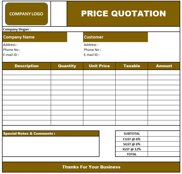 Software Development Quotation Format In Excel , Download Quotation Format in Excel