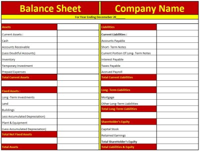 Download Balance Sheet Excel Template- In Excel
