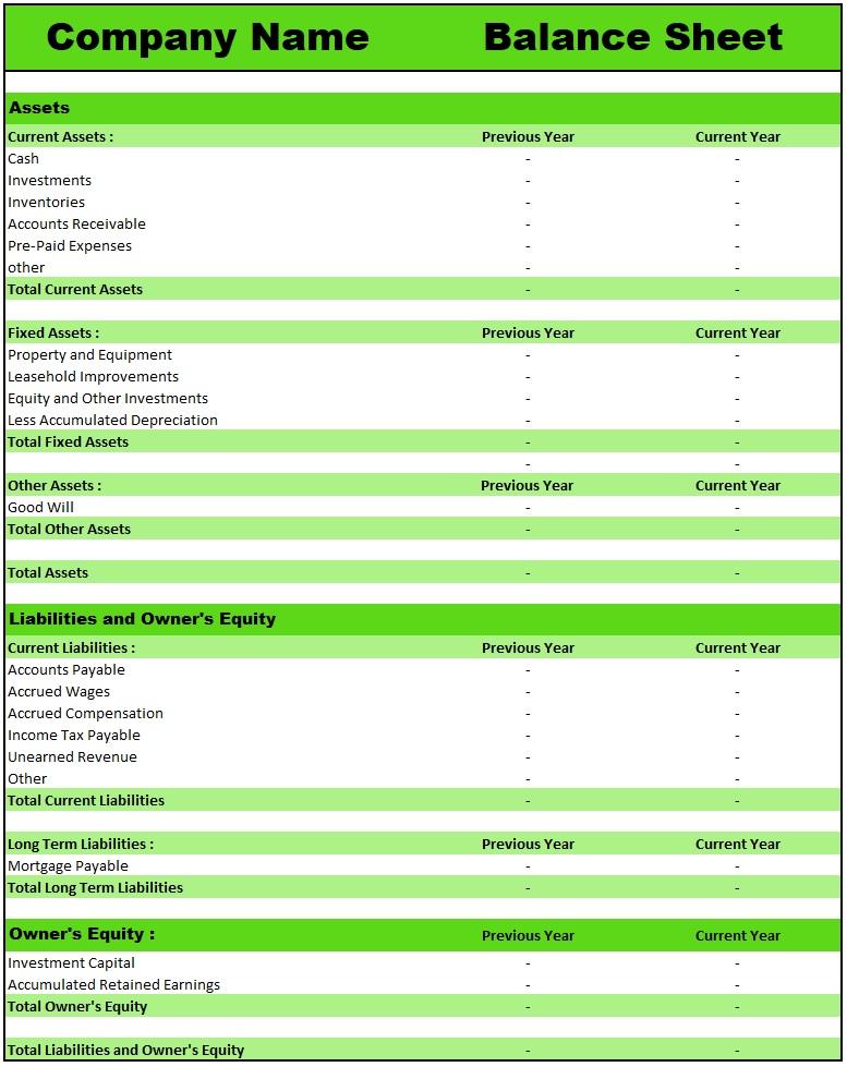 Download Blank Balance Sheet Templates, EXCEL, PDF.