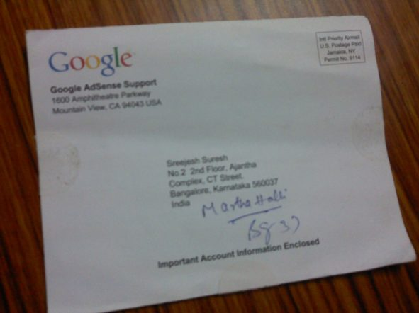 sreejesh adsense verification post mail