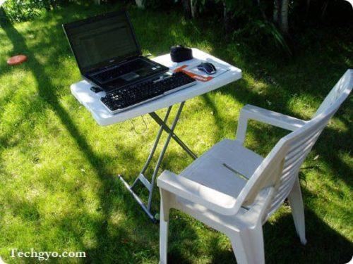 enjoy blogging in the backyard