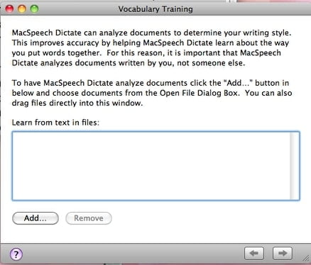 Dragon Dictate for Mac Vocabulary training