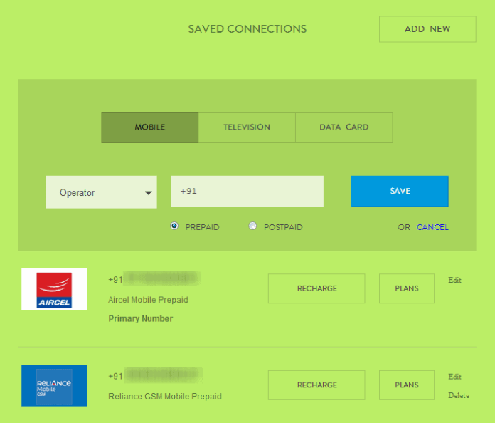 Mobikwik - Saved Numbers and Connections