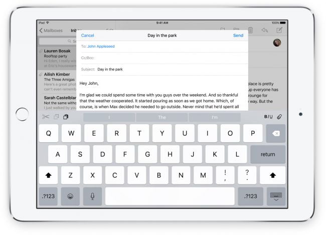 apple keyboard ios 9