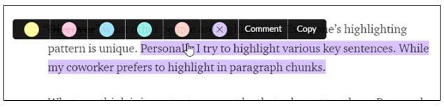 Liner highlight