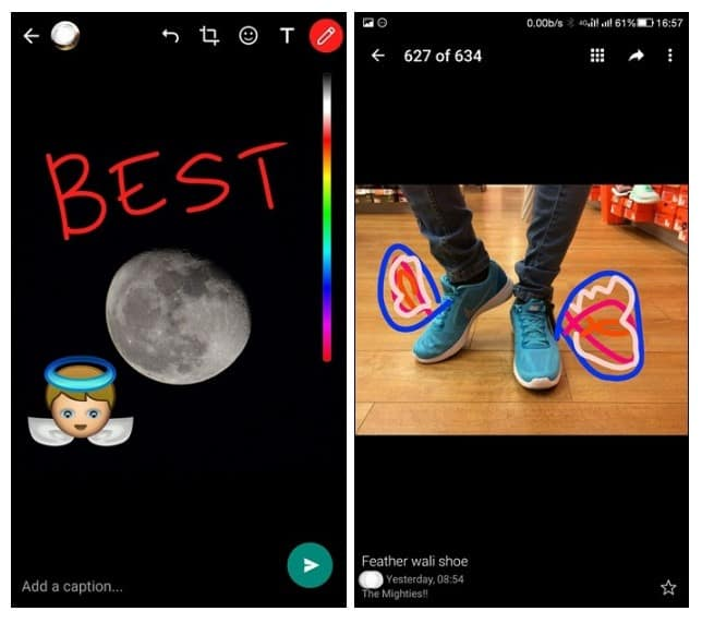 Doodle on your photographs on WhatsApp