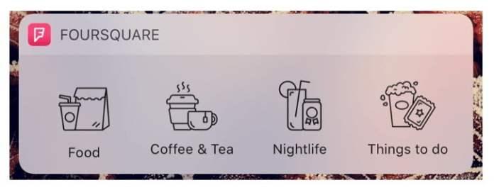 Foursquare widget fir iOS 10