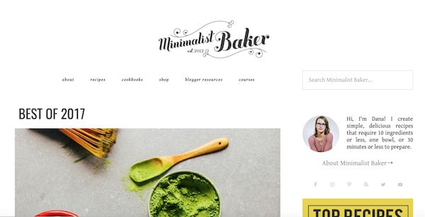 minimalistic baker wordpress site